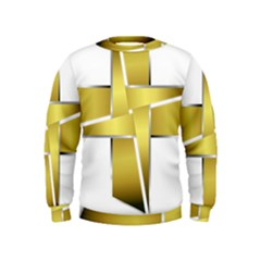Logo Cross Golden Metal Glossy Kids  Sweatshirt