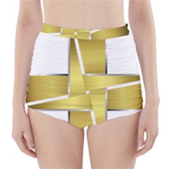 Logo Cross Golden Metal Glossy High Waisted Bikini Bottoms