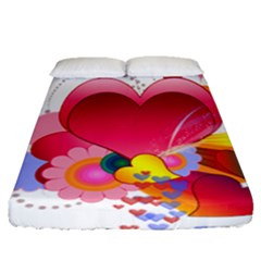 Heart Red Love Valentine S Day Fitted Sheet (queen Size)