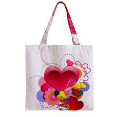 Heart Red Love Valentine S Day Zipper Grocery Tote Bag by Nexatart