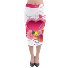 Heart Red Love Valentine S Day Midi Pencil Skirt by Nexatart