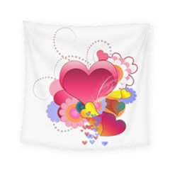 Heart Red Love Valentine S Day Square Tapestry (small)
