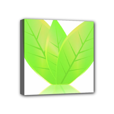 Leaves Green Nature Reflection Mini Canvas 4  X 4  by Nexatart