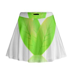 Leaves Green Nature Reflection Mini Flare Skirt