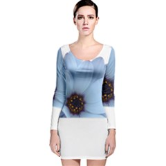 Daisy Flower Floral Plant Summer Long Sleeve Velvet Bodycon Dress