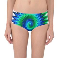Star 3d Gradient Blue Green Mid Waist Bikini Bottoms by Nexatart