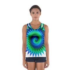 Star 3d Gradient Blue Green Women s Sport Tank Top