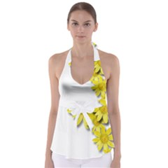 Flowers Spring Yellow Spring Onion Babydoll Tankini Top