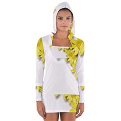 Flowers Spring Yellow Spring Onion Women s Long Sleeve Hooded T Shirt