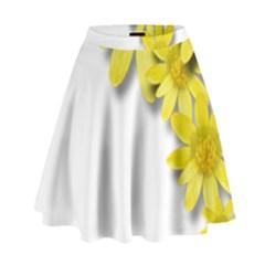 Flowers Spring Yellow Spring Onion High Waist Skirt by Nexatart