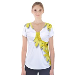 Flowers Spring Yellow Spring Onion Short Sleeve Front Detail Top