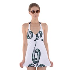 Scroll Retro Design Texture Halter Swimsuit Dress