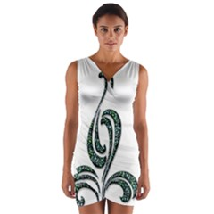 Scroll Retro Design Texture Wrap Front Bodycon Dress