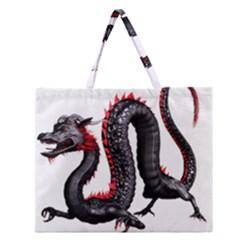 Dragon Black Red China Asian 3d Zipper Large Tote Bag by Nexatart