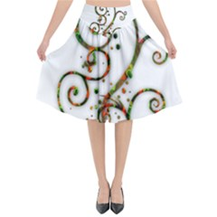 Scroll Magic Fantasy Design Flared Midi Skirt