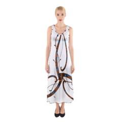 Abstract Shape Stylized Designed Sleeveless Maxi Dress