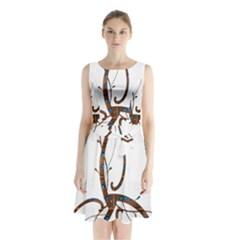 Abstract Shape Stylized Designed Sleeveless Waist Tie Chiffon Dress
