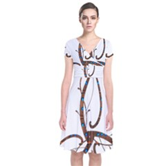 Abstract Shape Stylized Designed Short Sleeve Front Wrap Dress