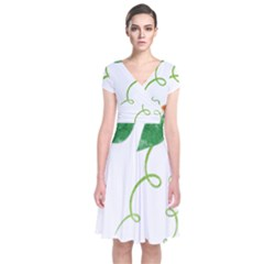 Scrapbook Green Nature Grunge Short Sleeve Front Wrap Dress