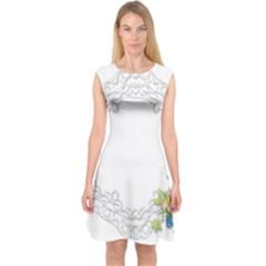 Scrapbook Element Lace Embroidery Capsleeve Midi Dress