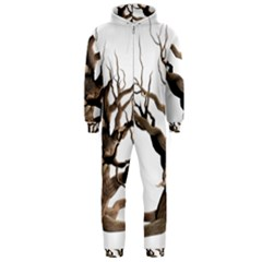 Tree Isolated Dead Plant Weathered Hooded Jumpsuit (men)