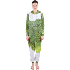 Broccoli Bunch Floret Fresh Food Hooded Jumpsuit (ladies)