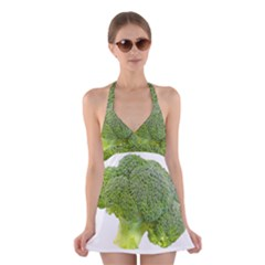Broccoli Bunch Floret Fresh Food Halter Swimsuit Dress