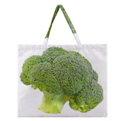 Broccoli Bunch Floret Fresh Food Zipper Large Tote Bag by Nexatart