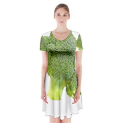 Broccoli Bunch Floret Fresh Food Short Sleeve V Neck Flare Dress