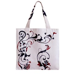 Scroll Border Swirls Abstract Zipper Grocery Tote Bag