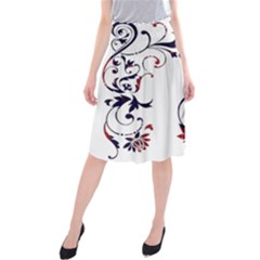 Scroll Border Swirls Abstract Midi Beach Skirt