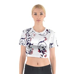 Scroll Border Swirls Abstract Cotton Crop Top
