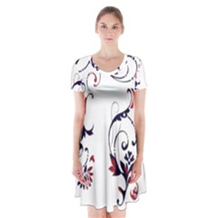 Scroll Border Swirls Abstract Short Sleeve V Neck Flare Dress by Nexatart
