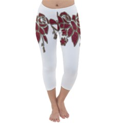 Scrapbook Element Nature Flowers Capri Winter Leggings