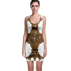 Cross Golden Cross Design 3d Sleeveless Bodycon Dress