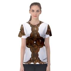 Cross Golden Cross Design 3d Women s Sport Mesh Tee