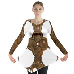 Cross Golden Cross Design 3d Long Sleeve Tunic