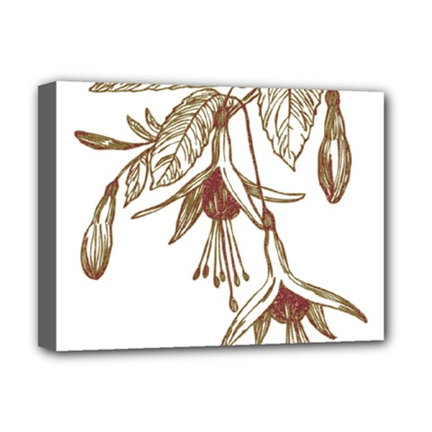 Floral Spray Gold And Red Pretty Deluxe Canvas 16  X 12   by Nexatart