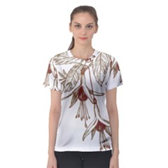 Floral Spray Gold And Red Pretty Women s Sport Mesh Tee