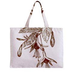 Floral Spray Gold And Red Pretty Zipper Mini Tote Bag