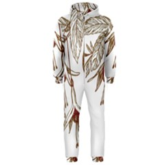 Floral Spray Gold And Red Pretty Hooded Jumpsuit (men)
