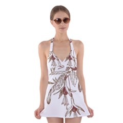 Floral Spray Gold And Red Pretty Halter Swimsuit Dress