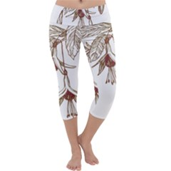 Floral Spray Gold And Red Pretty Capri Yoga Leggings