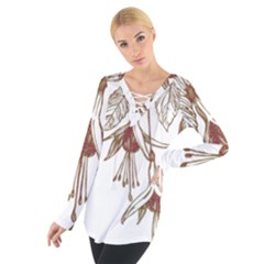 Floral Spray Gold And Red Pretty Women s Tie Up Tee