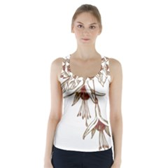 Floral Spray Gold And Red Pretty Racer Back Sports Top