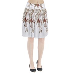 Floral Spray Gold And Red Pretty Pleated Skirt