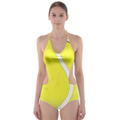 Tennis Ball Ball Sport Fitness Cut Out One Piece Swimsuit