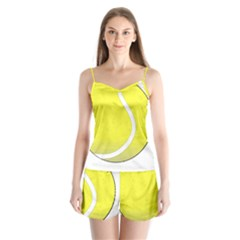Tennis Ball Ball Sport Fitness Satin Pajamas Set