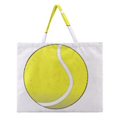 Tennis Ball Ball Sport Fitness Zipper Large Tote Bag by Nexatart