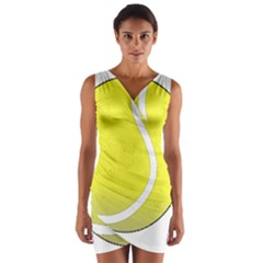 Tennis Ball Ball Sport Fitness Wrap Front Bodycon Dress